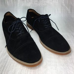 Aldo Black Suede Long Wingtip Derby Shoes